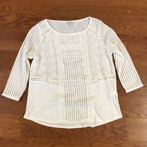 Lucky Brand sheer white shirt with 3/4 sleeves